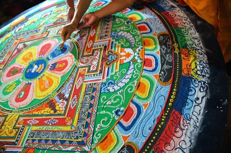 sand mandala from Tharlam Monastery, Kathmandu, Nepal