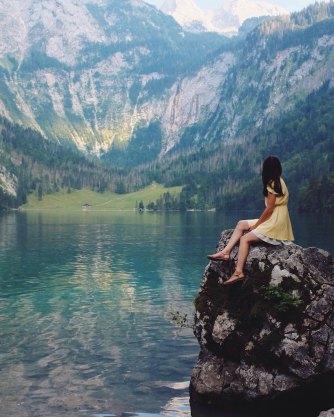 mountain lake woman yellow dress