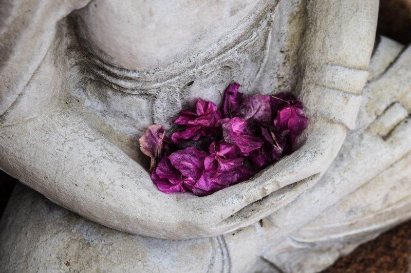 Buddha statue holding pink flowers