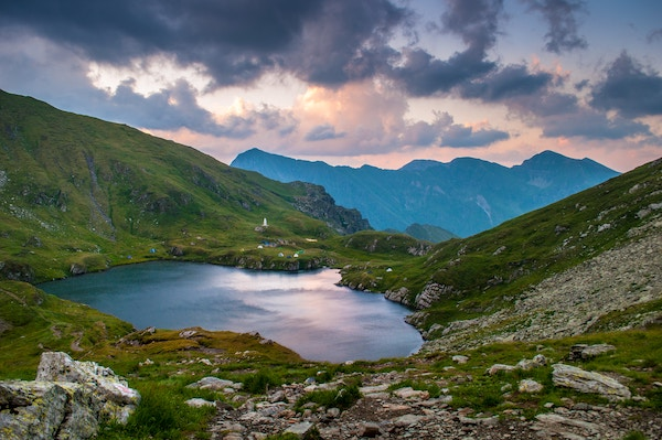 Lake Capra in Romania at sunset