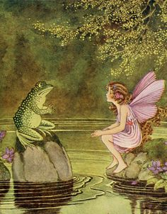 The fairy and the frog have a conversation by the pond.