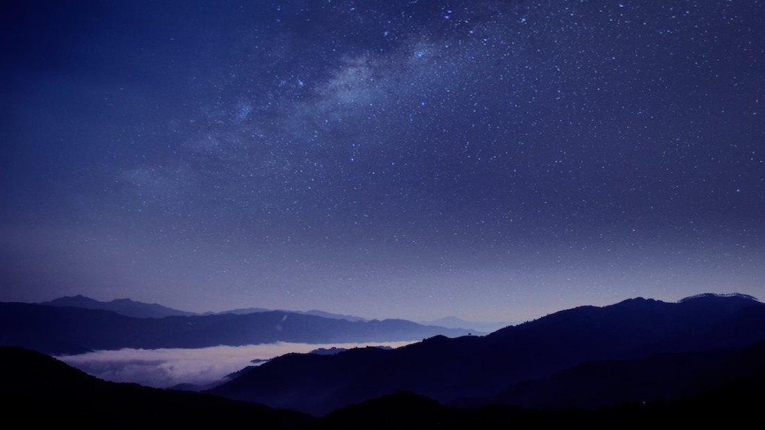 dark sky, purple, lake, Milky Way