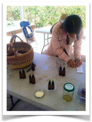 Labeling flower essence bottles