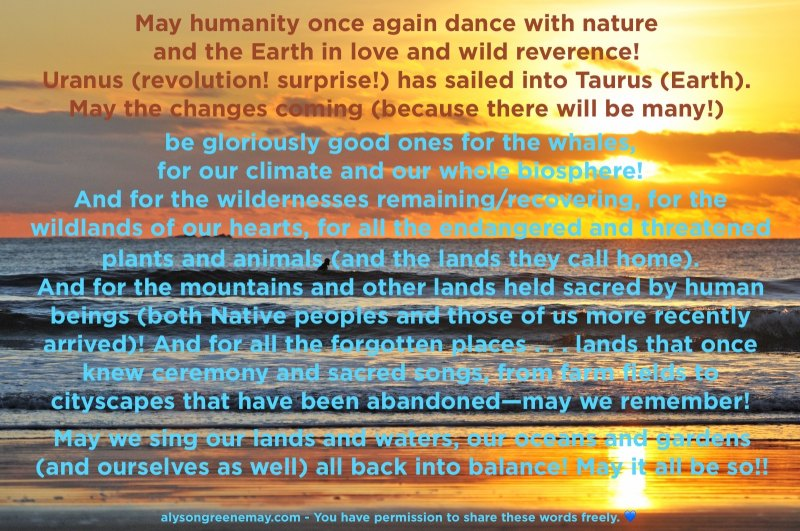 May humanity once again dance with nature and the Earth in love and wild reverence!