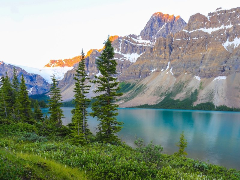 glacier-formed peaks and lake in Canadian wilderness